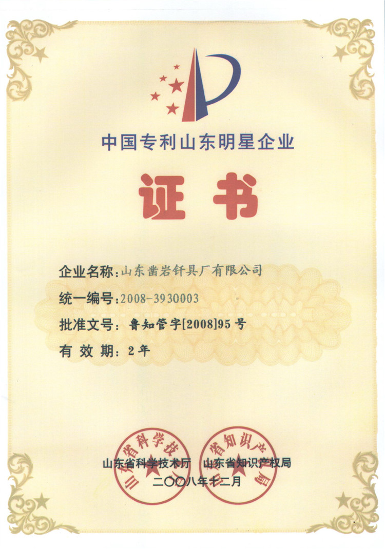 China patent Shandong star enterprise certificate